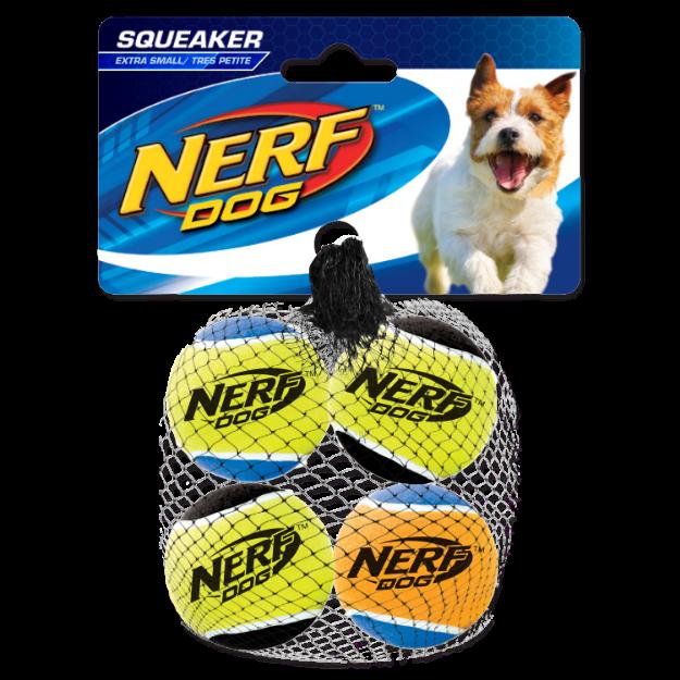 Obrázek Hračka NERF tenisák pískací 4 cm 4ks
